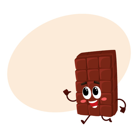 Cute chocolate bar character with funny face hurrying somewhere, cartoon vector illustration with place for text. Funny chocolate character, mascot, emoticon