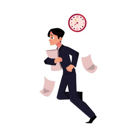 hurrying: Young businessman hurrying to work holding papers, losing documents, being late, cartoon vector illustration isolated on white background. Businessman, worker, employee harrying to work