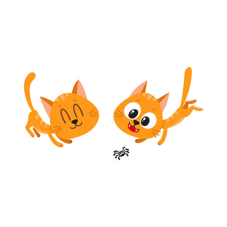 Two cute and funny red cat characters playing together, cartoon vector illustration isolated on white background. Couple of cute and funny red cat characters playing with little spider Illustration