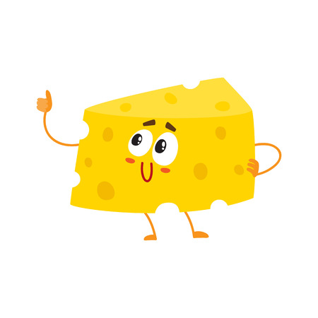 Funny cheese chunk character showing thumb up, good quality concept, cartoon vector illustration isolated on white background. Funny cheese piece character, mascot with human face giving thumb up Illustration