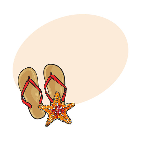 Pair of flip flops and starfish, symbols of beach vacation, sketch vector illustration with place for text. Hand drawn flip flops, sandals and starfish, summer vacation at the beach concept Illustration