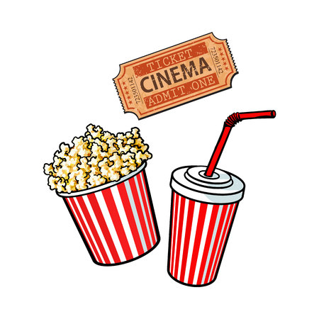 Cinema objects - popcorn bucket, soda water and retro style ticket, sketch vector illustration isolated on white background. Typical movie attributes - popcorn, soda water, cinema ticket Reklamní fotografie - 72911305