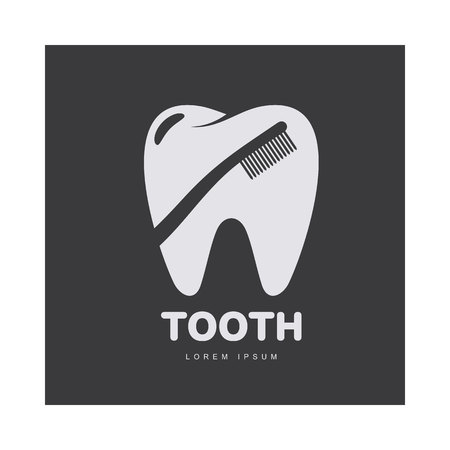 Graphic, black and white tooth, dental care template with toothbrush silhouette over tooth shape, vector illustration isolated on black background. Tooth, dental care Illustration