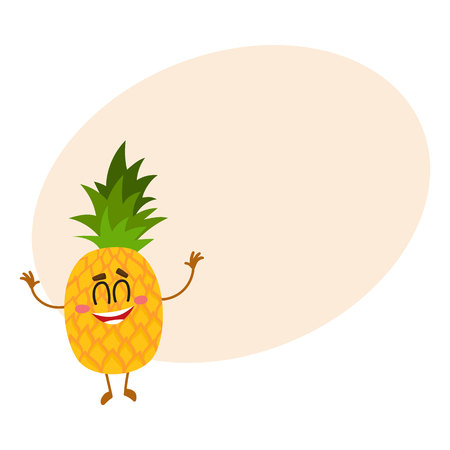 Funny pineapple character standing with raised hands and closed eyes, cartoon vector illustration with place for text. Funny pineapple character, mascot standing upright with raised hands