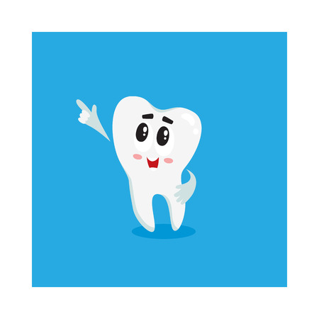 Cute and happy shiny white tooth character pointing to something with finger, isolated cartoon vector illustration. Happy tooth character, mascot, dental health care symbol
