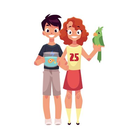 Two teenage kids, girl holding green parrot, boy with aquarium, fish bowl, cartoon vector illustration isolated on white background.