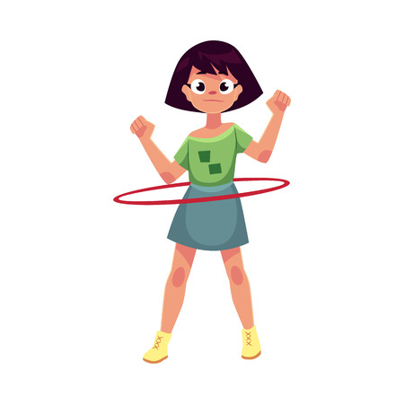 hula hoop: Teenage Caucasian girl spinning, playing with hula hoop, cartoon vector illustration isolated on white background. Girl with hula hoop, having fun at the playground