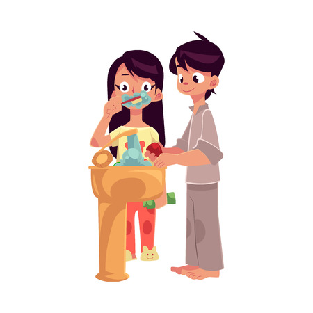 Little boy and girl in pajamas washing hands, brushing teeth, cartoon vector illustration isolated on white background.