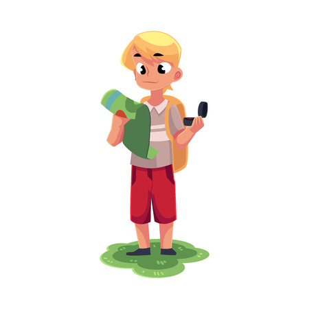 Teenage Caucasian boy with a backpack studying map, holding compass, camping, hiking concept, cartoon vector illustration isolated on white background.
