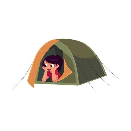 Tiener Kaukasisch meisje die van toeristentent kijken, het kamperen, wandelingsconcept, beeldverhaal vectordieillustratie op witte achtergrond wordt geïsoleerd. Meisjesverkenner, toerist die in het kamperen tent ligt Stock Illustratie