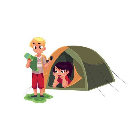 Camping kids - boy studying map with compass and girl looking out of tent, cartoon vector illustration isolated on white background.