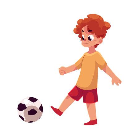 Teenage Caucasian boy kicking football ball, cartoon vector illustration isolated on white background. Boy playing football, kicking ball, having fun at the playground Illustration