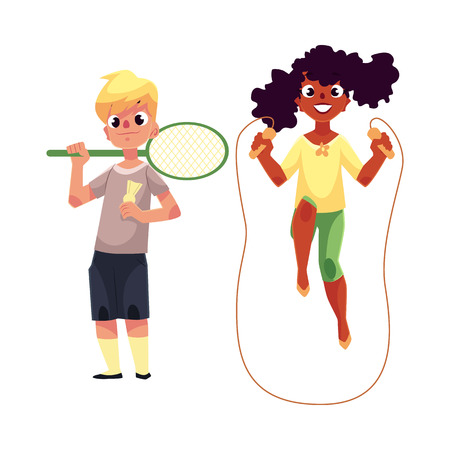 black youth: Black African girl and Caucasian boy playing with jumping rope and badminton racket at playground, cartoon vector illustration isolated on white background.
