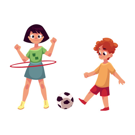 hula hoop: Boy and girl playing football and spinning hula hoop at playground, cartoon vector illustration isolated on white background. Illustration