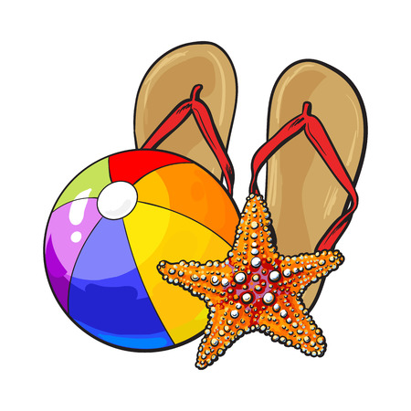Pair of flip flops, starfish and inflatable beach ball, summer vacation concept, sketch vector illustration isolated on white background. Illustration