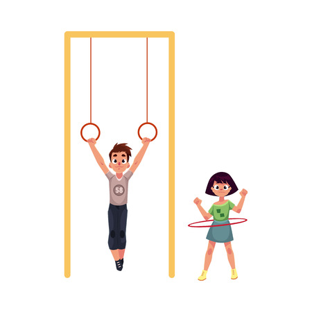 Boy and girl playing at playground, hanging on gymnastic rings. spinning hula hoop, cartoon vector illustration isolated on white background. Illustration