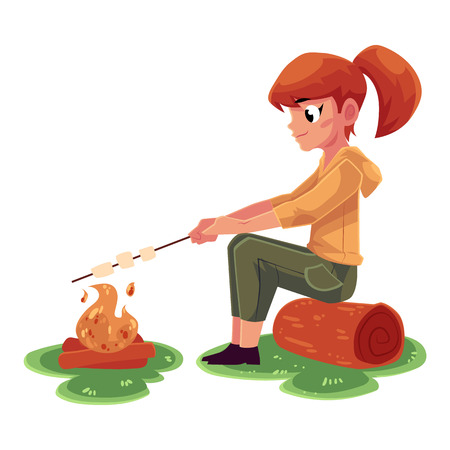 Teenage Caucasian girl frying marshmallow on fire, camping, hiking concept, cartoon vector illustration isolated on white background.