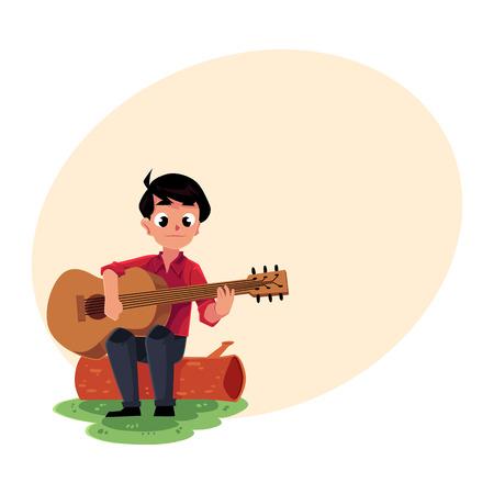 Teenage caucasien garçon jouant de la guitare, assis sur un rondin, camping, concept de randonnée, illustration de vecteur de dessin animé avec place pour le texte. Scout, touriste jouant de la guitare dans le camping Banque d'images - 73661298