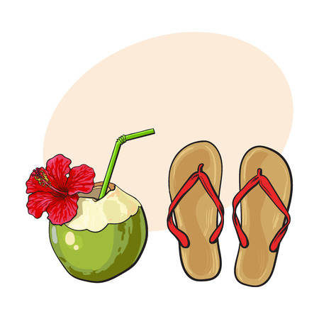 features: Pair of flip flops and coconut drink, summer time vacation attributes, objects, sketch vector illustration with place for text. Hand drawn flip flops and coconut cocktail, summer objects