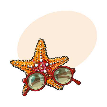 Hand drawn starfish and round sunglasses in red plastic frame, sketch style vector illustration with place for text. Illustration