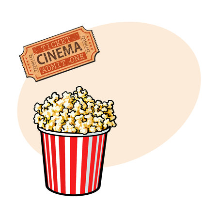 Cinema objects - popcorn bucket and retro style ticket, sketch vector illustration with place for text. Typical movie attributes like popcorn in red and white bucket and cinema ticket