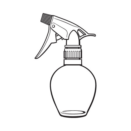 Unlabeled, transparent plastic hairdresser spray bottle, sketch style vector illustration isolated on white background. Illustration