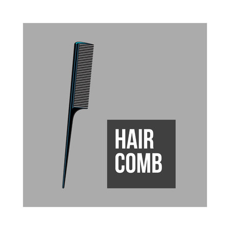 haircutting: Traditional plastic black hairdresser comb, sketch style vector illustration isolated on grey background. Hair comb, hairdresser tool, object, attribute