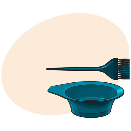 Color mixing plastic hairdresser brush, hairbrush and bowl, sketch style vector illustration with place for text. Hairbrush and bowl for hair bleaching and coloring