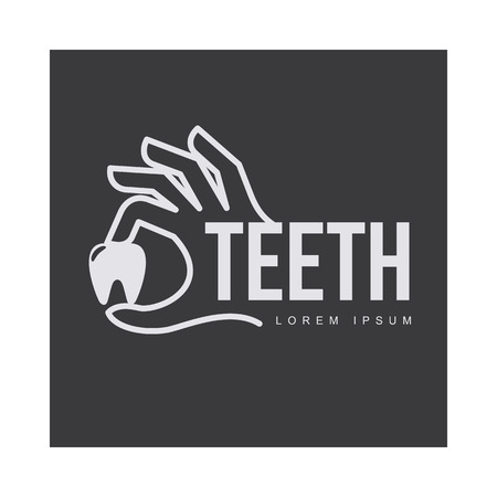 Black and white line art dental care logo template with hand holding tooth, vector illustration isolated on black background. Stylized tooth, dental care logotype, logo design
