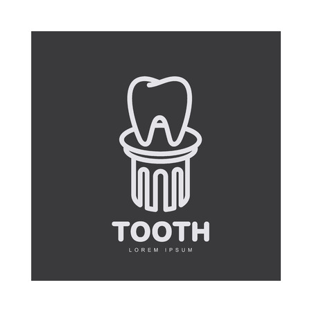 Black and white line art dental care logo template with tooth standing on pedestal, vector illustration isolated on black background. Stylized tooth, dental care logotype, logo design