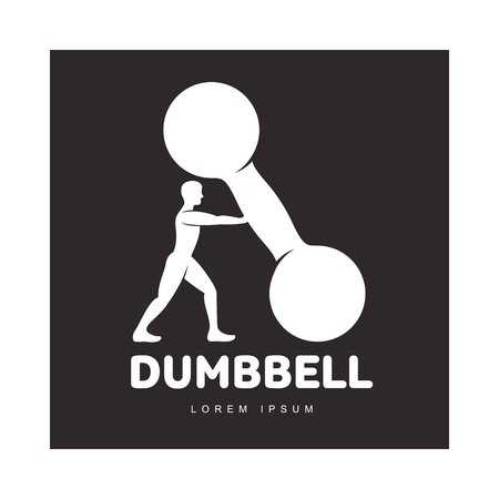 Graphic logo template with full length figure of bodybuilder man supporting a big dumbbell, vector illustration isolated on black background.