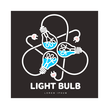 Logo of three black outline, line art light bulbs with different content levels and powers cords, vector illustration isolated on black background.