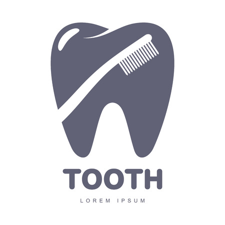 orthodontist: Graphic, black and white tooth, dental care logo template with toothbrush silhouette over tooth shape, vector illustration isolated on white background.