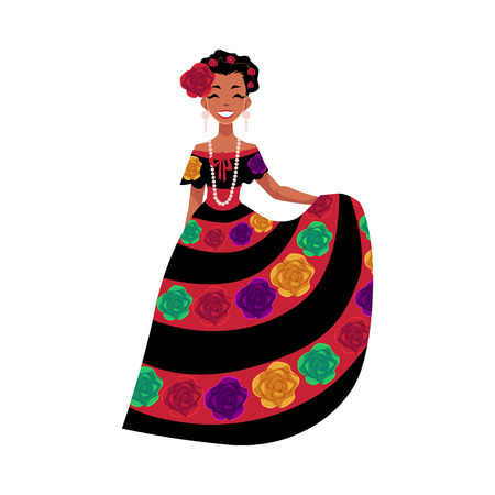 Mexican woman in traditional national dress decorated with embroidered flowers, cartoon vector illustration isolated on white background. Full length portrait of Mexican woman. Ilustração