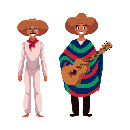Two Mexican man in traditional national sombrero and poncho playing guitar, cartoon vector illustration isolated on white background. Two Full length portrait of Mexican man.