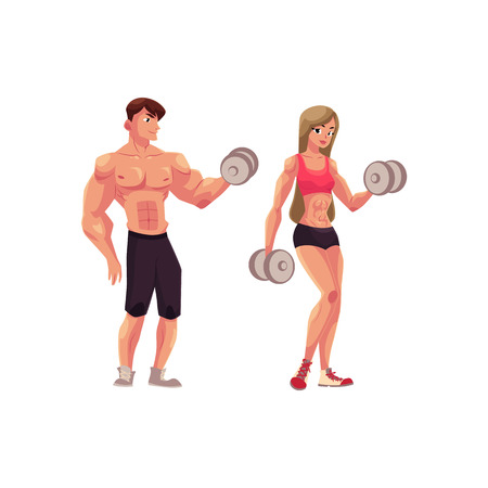 Man and woman bodybuilders, weightlifters working out, training with dumbbells, cartoon vector illustration isolated on white background. Full length portrait of man and woman.