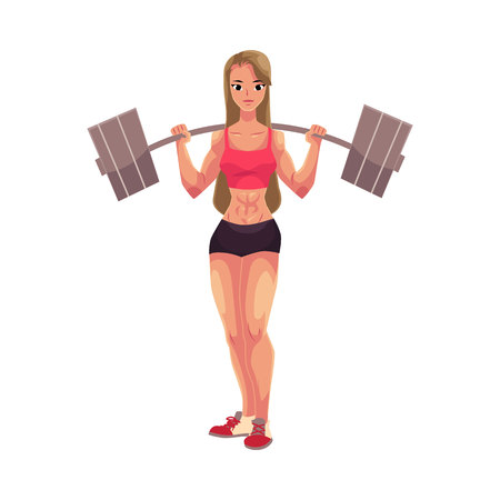 Young woman, female bodybuilder, weightlifter working out with barbell, cartoon vector illustration isolated on white background. Standing with barbell on her shoulders