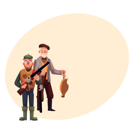 rifleman: Two hunters, one modern, another old fashioned gentleman with falcon, cartoon vector illustration with place for text. Full length portrait of two typical hunters, in tweed jacket and in vest