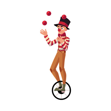 Funny clown juggling balls while riding unicycle, one wheeled bicycle, cartoon vector illustration isolated on white background. Stock Illustratie