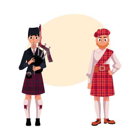 Two Scottish men in national clothes, tartan beret and kilt, cartoon vector illustration with place for text. Full length portrait of Scottish men in tartan and kilt, piper playing bagpipe