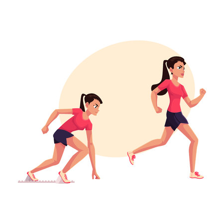 Young and pretty female runner, sprinter, jogger, ready to start and running, cartoon vector illustration with place for text. Woman, girl running, sprinter, track and field, competition Illustration