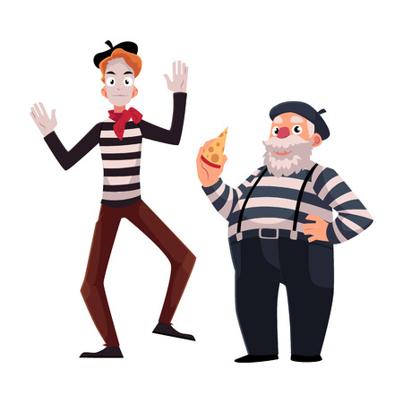 Two French mimes, young and old, in traditional costumes as symbols of France, cartoon vector illustration isolated on white background. French mime characters, slim and fat.