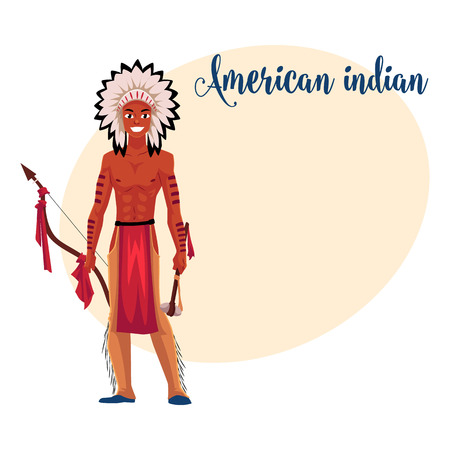 Native American Indian man in feather headdress, breechcloth and leather leggings, cartoon vector illustration with place for text. Indian man in national clothes Illustration
