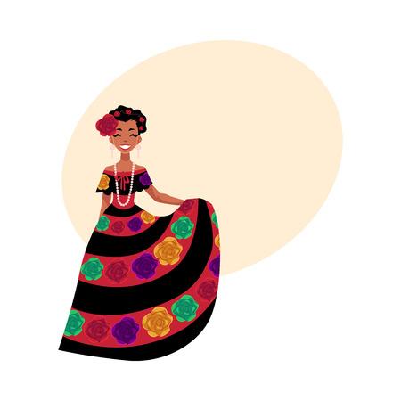 estereotipo: Mujer mexicana en traje nacional tradicional decorado con flores bordadas, ilustración vectorial de dibujos animados con el lugar de texto. Retrato de cuerpo entero de la mujer mexicana en traje nacional Vectores