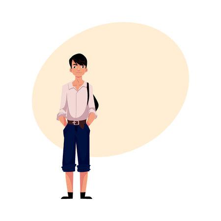 estereotipo: Colegial adolescente japonés en uniforme típico con camisa blanca y pantalones cortos, ilustración vectorial de dibujos animados con lugar para el texto. Retrato de cuerpo entero de colegial japonés típico Vectores
