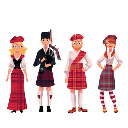 Scottish people in traditional national costumes, tartan berets and kilts, cartoon vector illustration isolated on white background. Set of Scottish people in tartan, plaid and kilts