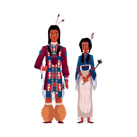 Native American Indian couple in national clothes, wearing tribal fringed shirts, cartoon vector illustration isolated on white background.