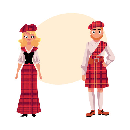 berets: Scottish couple in traditional national costumes, tartan berets and kilts, cartoon vector illustration with place for text. Two Scottish people in tartan, plaid and kilts Illustration