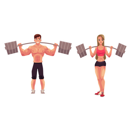 Man and woman bodybuilders, weightlifters working out, training with barbells, cartoon vector illustration isolated on white background. Full length portrait of bodybuilders with barbells