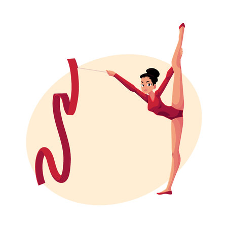 Beautiful girl in leotard standing in vertical leg split, rhythmic gymnastics with ribbon, cartoon vector illustration with place for text. Rhythmic gymnast exercising with ribbon